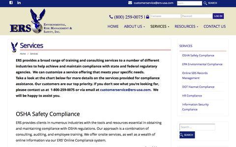 Screenshot of Services Page ers-usa.com - Services – Environmental, Risk Management & Safety, Inc. - captured Nov. 9, 2016