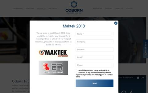 Screenshot of Products Page coborn.com - Diamond tool grinding and quality laser cutting machines - captured Sept. 28, 2018