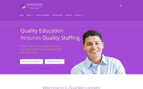 Screenshot of Home Page equalrecruitment.co.uk - E-Qual Recruitment | Education First - Addysg yn Gyntaf - captured Oct. 1, 2014