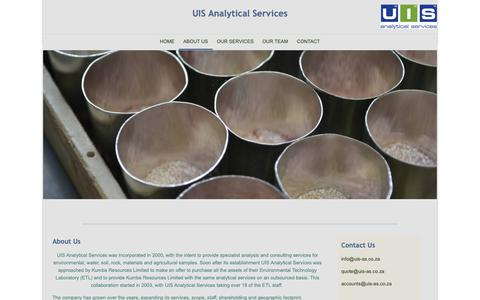 Screenshot of About Page uis-as.co.za - UIS Analytical Services - About Us - captured Sept. 30, 2018