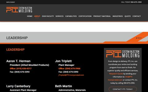 Screenshot of Team Page pti-incorporated.com - Leadership   Custom Plastic Injection Molding Services Manufacture   PTI Inc - captured July 15, 2018