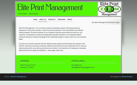 Screenshot of About Page eliteprintmanagement.net - Elite Print Management - Rockwall, Rowlett, Texas - captured Oct. 2, 2014
