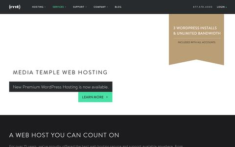 Screenshot of Home Page mediatemple.net - Web hosting services, website domains and VPS host - Media Temple - captured July 11, 2014