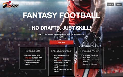 Screenshot of Home Page fireleague.com - FireLeague Salary Cap Football - captured Aug. 3, 2015