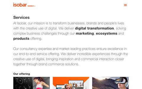 Screenshot of Services Page isobar.com - Isobar Services |Digital Marketing, Ecosystems & Products - captured March 10, 2018