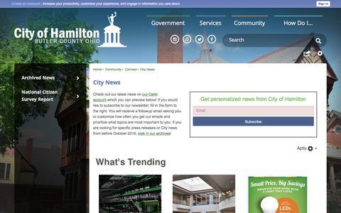 Screenshot of Press Page hamilton-city.org - City News | Hamilton, OH - captured June 24, 2017