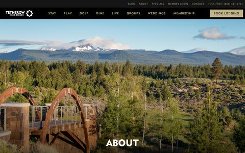 Screenshot of About Page tetherow.com - About Tetherow - Our Team, Careers, Sustainability in Bend Oregon - captured Oct. 20, 2018