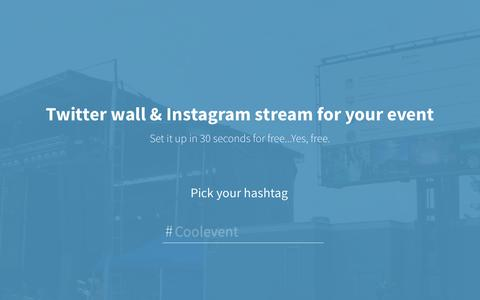 Screenshot of Home Page activitywalls.com - Free twitter wall and Instagram stream for events - captured Sept. 19, 2014