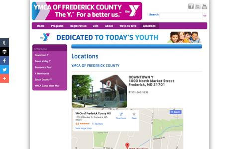 Screenshot of Locations Page frederickymca.org - YMCA - captured June 22, 2016