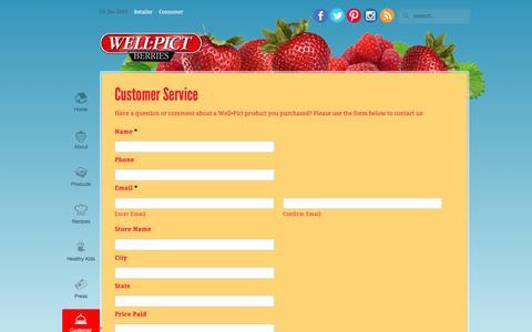 Screenshot of Support Page wellpict.com - Customer Service   WellPict Berries - captured Jan. 19, 2016