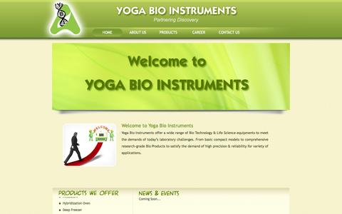 Screenshot of Home Page yogabioinstruments.com - YOGA BIO INSTRUMENTS - PONDICHERRY:: yoga bio instruments, Bio instruments products pondicherry, pondicherry bio equipments, life science product in pondicherry, bio technology products pondicherry, Microplate Readers, Microplate Washer, Bio Safety C - captured Sept. 30, 2014