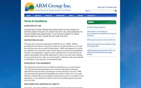 Screenshot of Terms Page armgroup.net - Terms & Conditions   ARM Group Inc. - captured Oct. 1, 2014