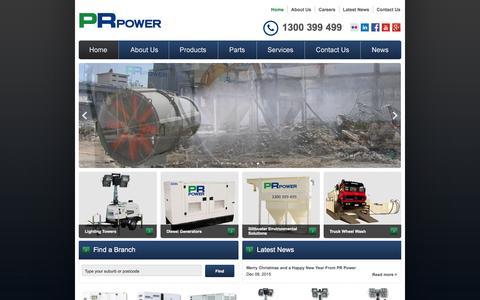 Screenshot of Home Page prpower.com.au - Diesel Generators & Lighting Towers Australia - PR Power - captured Jan. 23, 2016