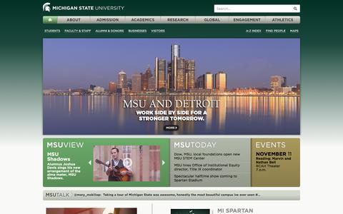 Screenshot of Home Page msu.edu - Michigan State University. Est. 1855. East Lansing, Michigan, USA. - captured Nov. 11, 2015