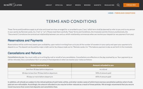 Screenshot of Terms Page remotelands.com captured Oct. 21, 2019