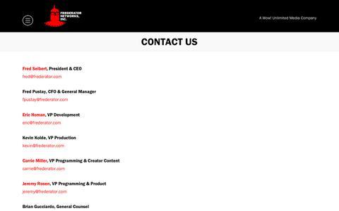 Screenshot of Contact Page frederator.com - Contact Us - Frederator - captured Sept. 29, 2018