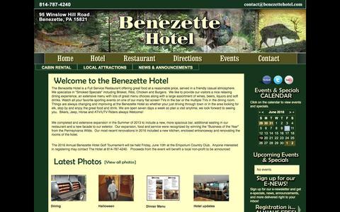 Screenshot of Home Page benezettehotel.com - Benezette Hotel - captured June 19, 2016