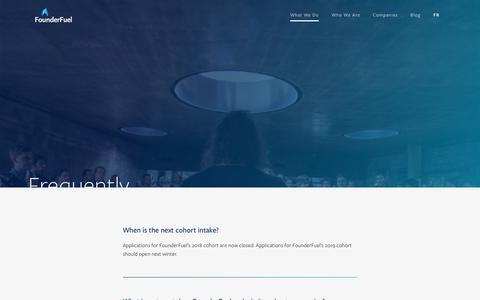 Screenshot of FAQ Page founderfuel.com - FAQ - FounderFuel - captured Nov. 14, 2018
