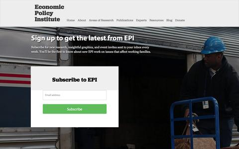 Screenshot of Signup Page epi.org - Sign up to get the latest from EPI | Economic Policy Institute - captured Jan. 25, 2016