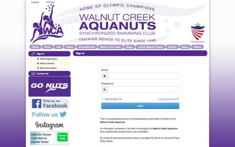 Screenshot of Login Page teamunify.com - Walnut Creek Aquanuts : Sign In - captured Dec. 17, 2016