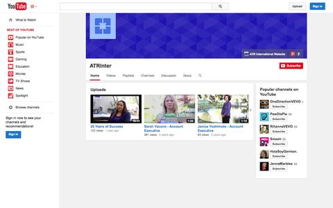 Screenshot of YouTube Page youtube.com - ATRInter  - YouTube - captured Oct. 23, 2014