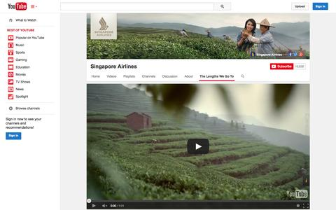 Screenshot of YouTube Page youtube.com - Singapore Airlines  - YouTube - captured Nov. 2, 2014