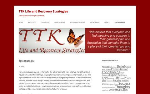 Screenshot of Testimonials Page ttk.co.za - Testimonials | TTK Life and Recovery Strategies - captured Dec. 3, 2016
