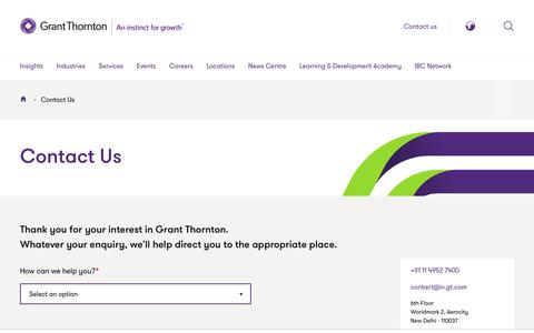 Screenshot of Contact Page grantthornton.in - Contact Us | Grant Thornton India - captured July 18, 2019