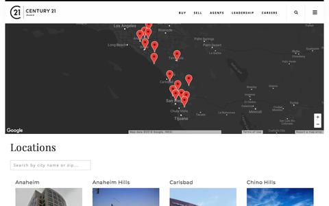Screenshot of Contact Page Locations Page century21award.com - Locations | century21award.com - captured July 14, 2018