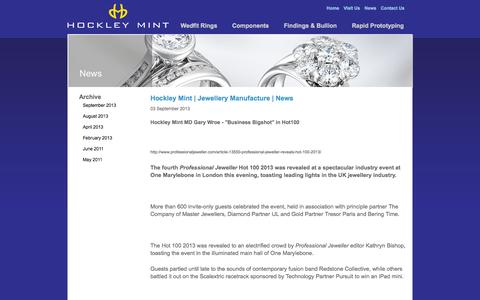 Screenshot of Press Page hockleymint.co.uk - Hockley Mint | Jewellery Manufacture | News - captured Oct. 2, 2014