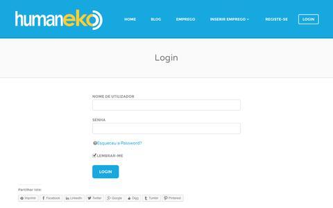 Screenshot of Login Page humaneko.com - Login | HumanEKO - captured Sept. 30, 2014