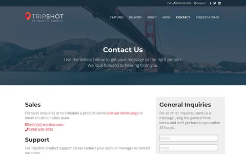 Screenshot of Contact Page tripshot.com - Contact - Tripshot - captured April 24, 2019