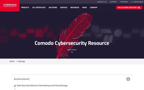 Screenshot of Site Map Page comodo.com - Comodo Cybersecurity Sitemap   Get Full Internet Security Resource - captured Nov. 5, 2018