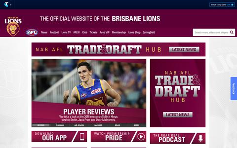 Screenshot of Home Page lions.com.au - Official AFL Website of the Brisbane Lions Football Club - captured Oct. 6, 2018