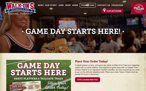 Screenshot of walk-ons.com - Game Day Starts Here! | Promotions | Walk-On's Bistreaux & Bar - captured March 20, 2016