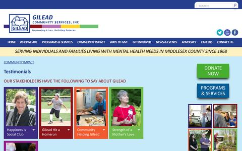 Screenshot of Testimonials Page gileadcs.org - Testimonials - Gilead Community ServicesGilead Community Services - captured Nov. 6, 2016