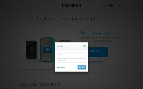 Screenshot of Login Page lockitron.com - Lockitron - Keyless entry using your phone - captured July 20, 2014