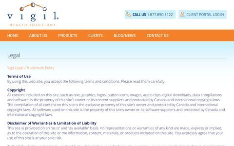 Screenshot of Terms Page vigil.com - Legal - Vigil Health Solutions - captured Dec. 12, 2016
