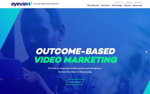 Screenshot of Home Page eyeviewdigital.com - Outcome-Based Video Marketing | Eyeview - captured Nov. 5, 2016