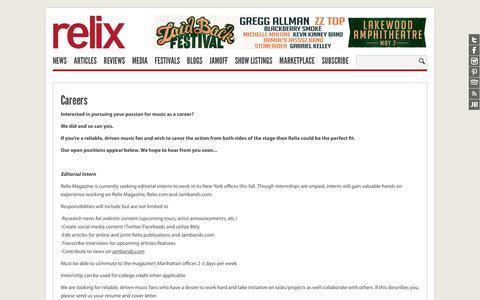 Screenshot of Jobs Page relix.com - Careers : Relix - captured Feb. 14, 2016