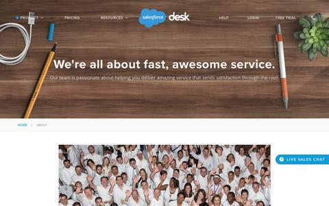 Screenshot of About Page desk.com - Our team is all about fast awesome service | Desk.com - captured Aug. 19, 2016