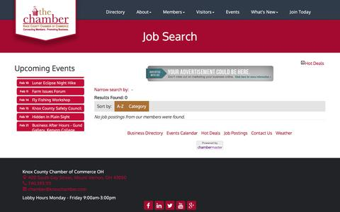Screenshot of Jobs Page knoxchamber.com - Job Search - Knox County Chamber of Commerce OH,OH - captured Jan. 29, 2017