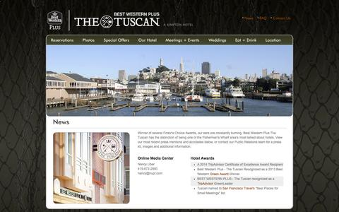 Screenshot of Press Page tuscaninn.com - Hotel News & Media for Tuscan Inn, a Fisherman's Wharf Hotel in San Francisco - captured Sept. 30, 2014