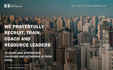 Screenshot of Home Page redeemercitytocity.com - Redeemer City to City - captured Sept. 21, 2019