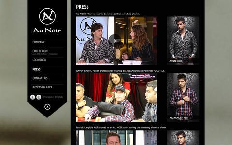 Screenshot of Press Page aunoir.com - press | Au noir - captured Oct. 4, 2014