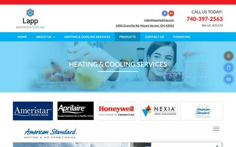 Screenshot of Products Page lappheating.com - Heating and Cooling Services-Mt. Vernon, OH-Lapp Heating & Cooling - captured Nov. 10, 2018