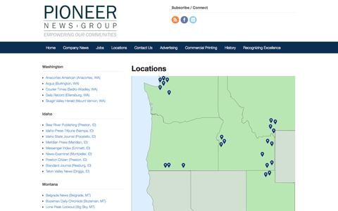Screenshot of Locations Page pioneernewsgroup.com - Locations | Pioneer News Group - captured Sept. 29, 2014