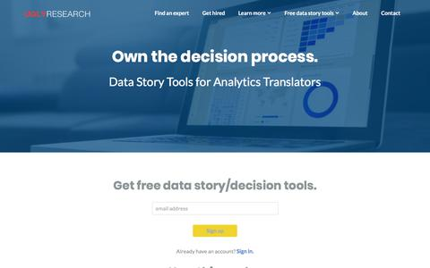 Screenshot of Signup Page uglyresearch.com - Get Data Story Tools @ Ugly Research: Analytics Translator training - captured March 11, 2018