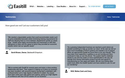 Screenshot of Testimonials Page easitill.co.uk - Testimonials - EPoS & Retail Solutions Since 1988 - captured Sept. 26, 2018