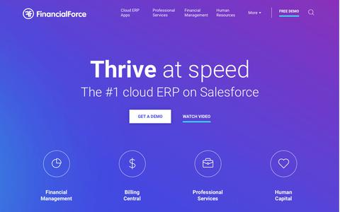 Screenshot of Home Page financialforce.com - Cloud ERP Software Apps on the Salesforce Platform - captured June 25, 2017